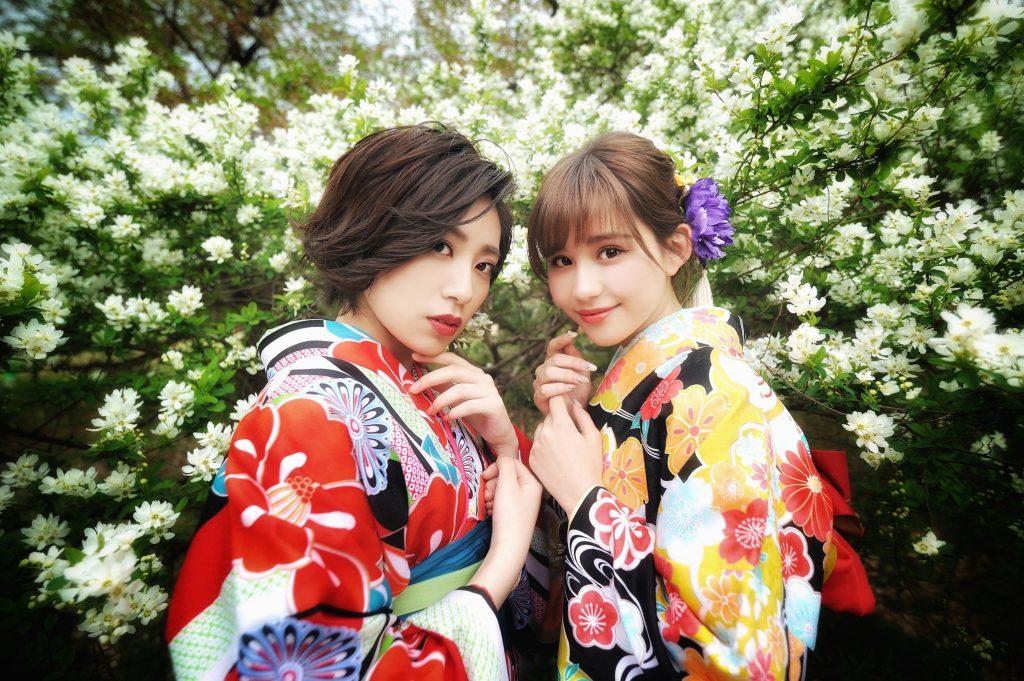 お花と着物(京都府立植物園)