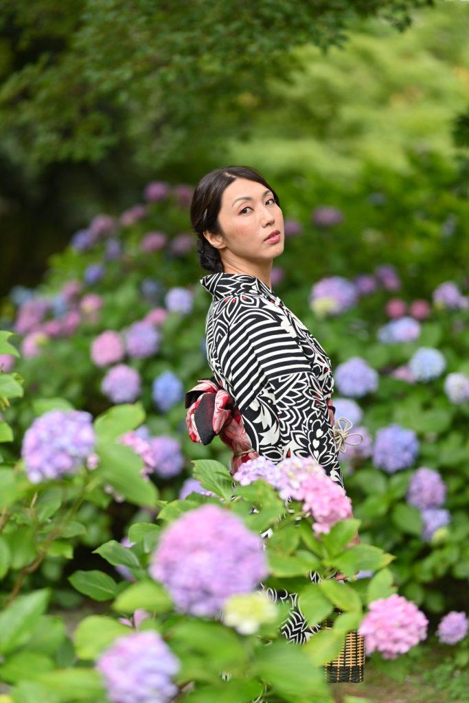 紫陽花と記念撮影